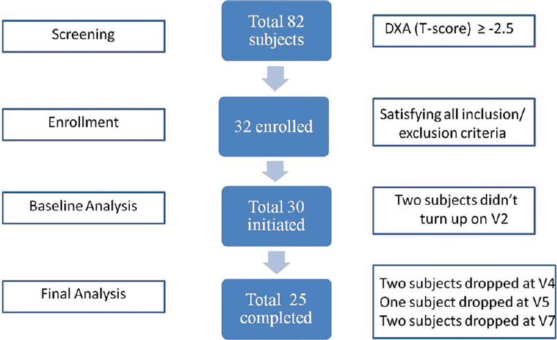 Figure 1: Women's participation: Screening, enrollment, drop-outs, and completion. DXA: Dual-energy X-ray absorptiometry, V2: Visit 2, V3: Visit 3, V4: Visit 4, V5: Visit 5, V7: Visit 7